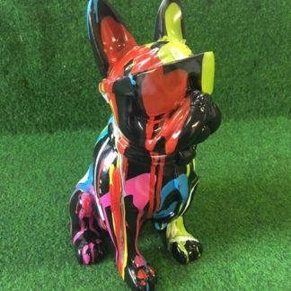 tuinbeeld bulldog met zonnebril